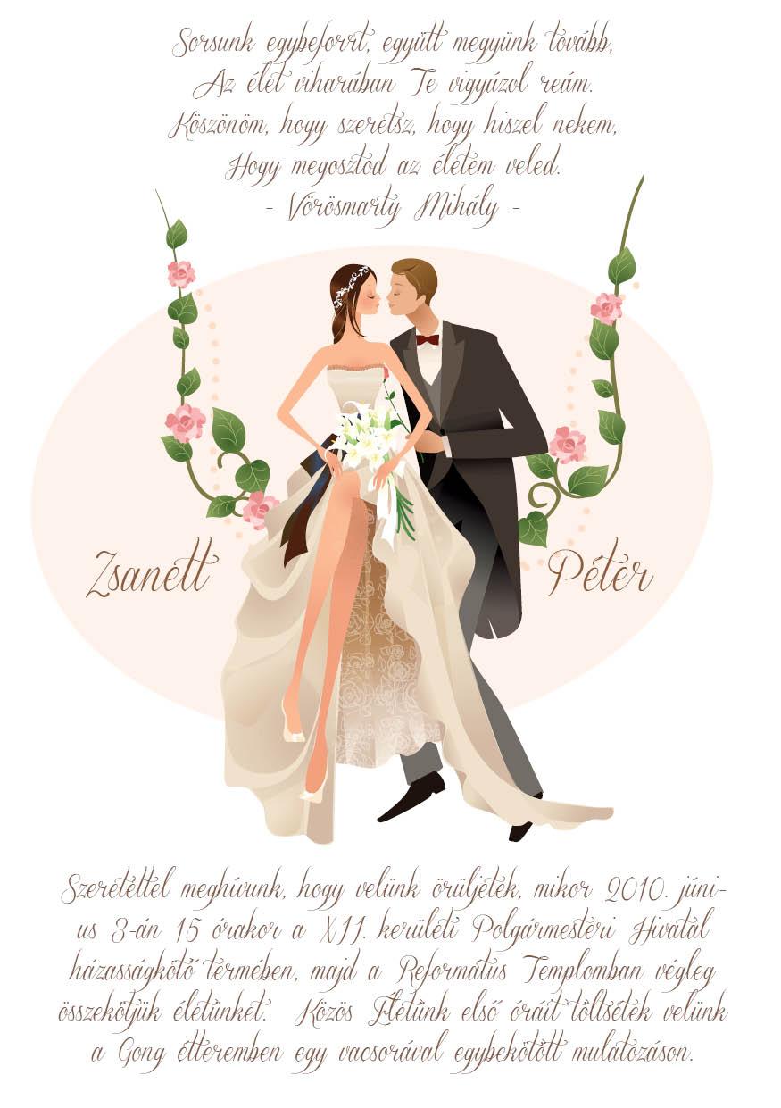 14 minta - tekercses esküvői meghívó