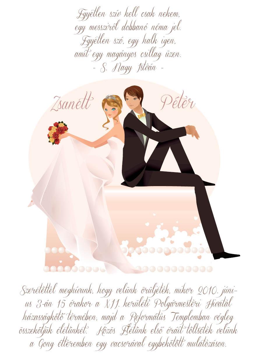 15 minta - tekercses esküvői meghívó