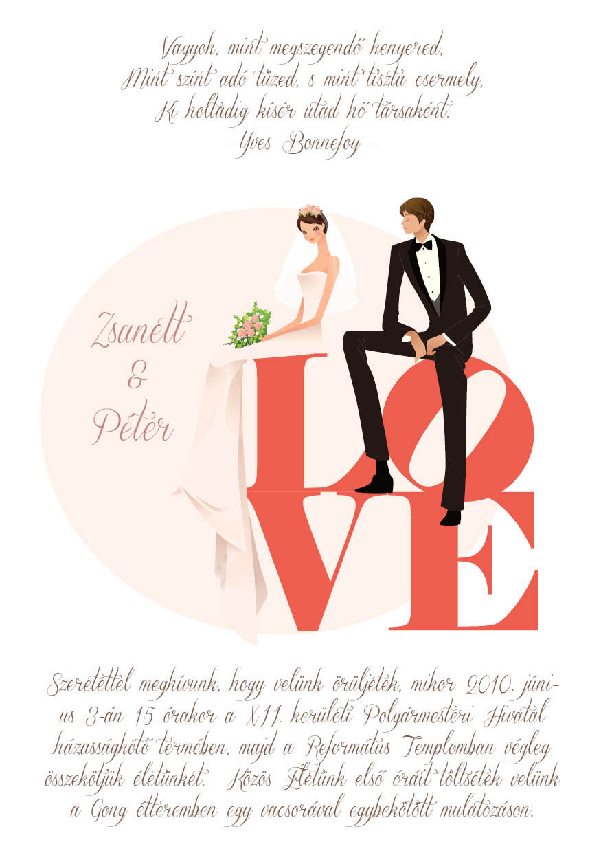 17 minta - tekercses esküvői meghívó