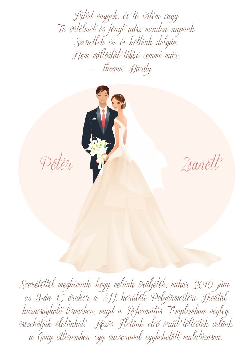 19 minta - tekercses esküvői meghívó