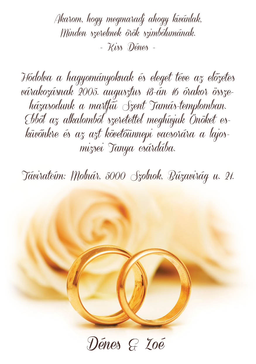 47 minta - tekercses esküvői meghívó
