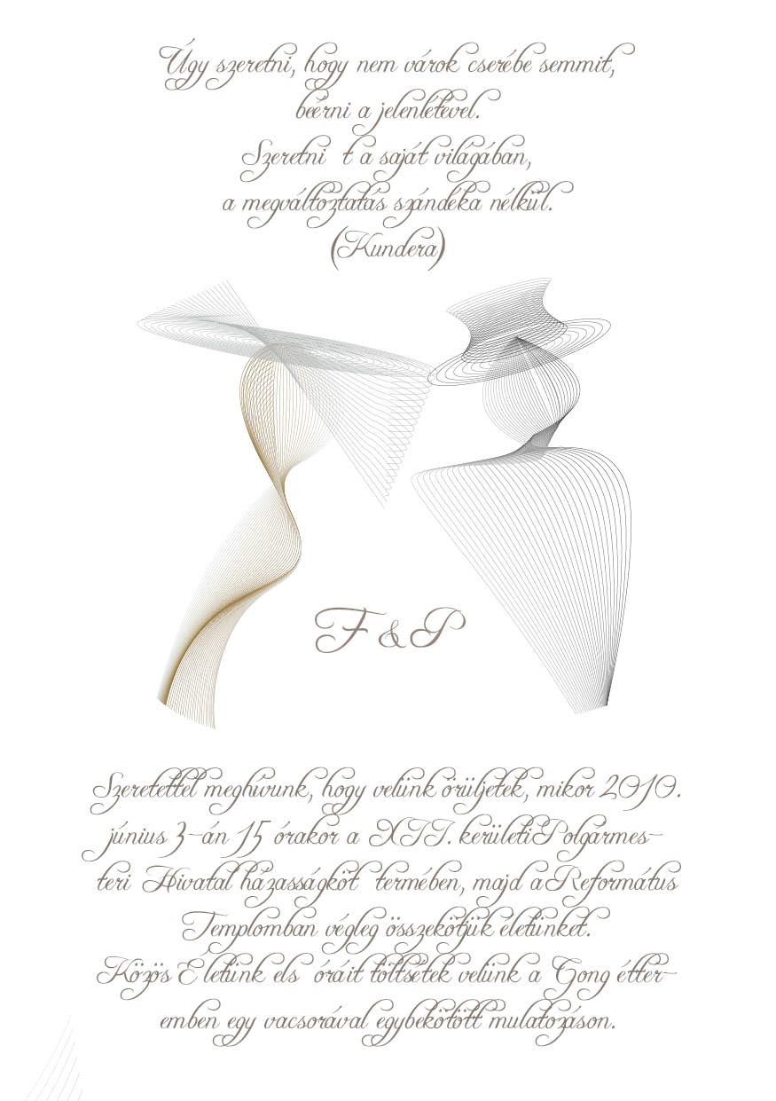 54 minta - tekercses esküvői meghívó