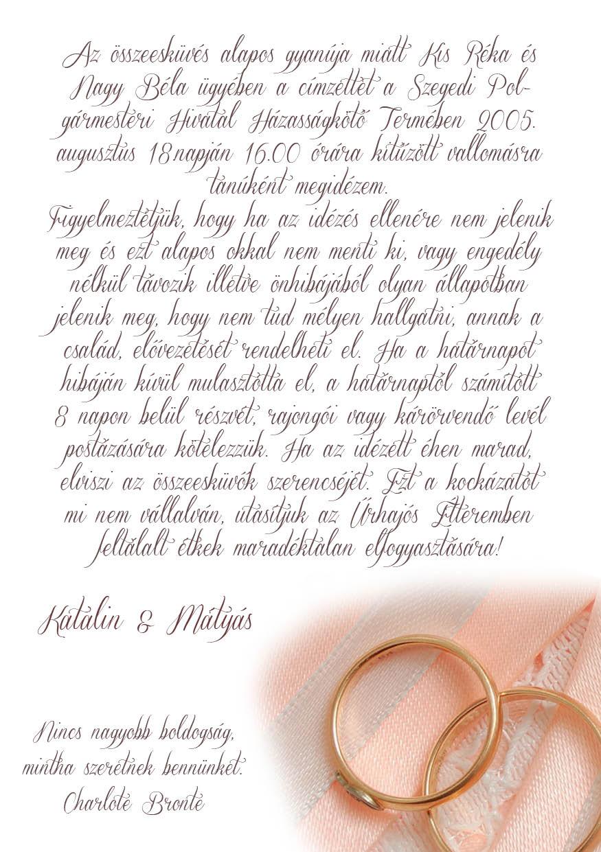 58 minta - tekercses esküvői meghívó