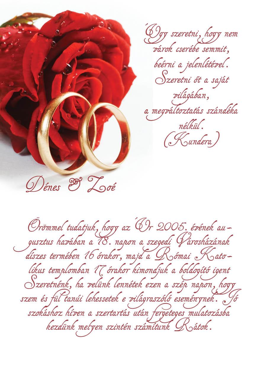 60 minta - tekercses esküvői meghívó