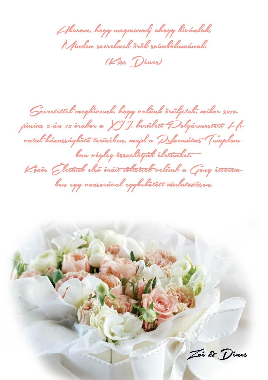 61 minta - tekercses esküvői meghívó