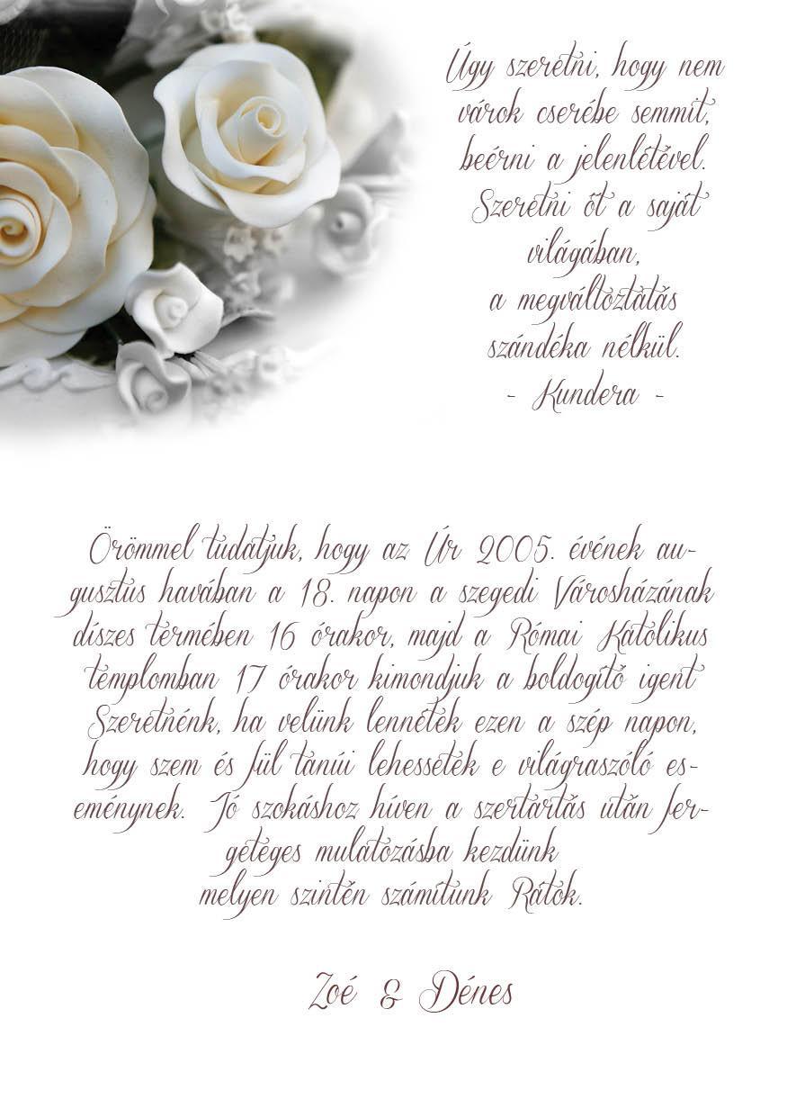 66 minta - tekercses esküvői meghívó