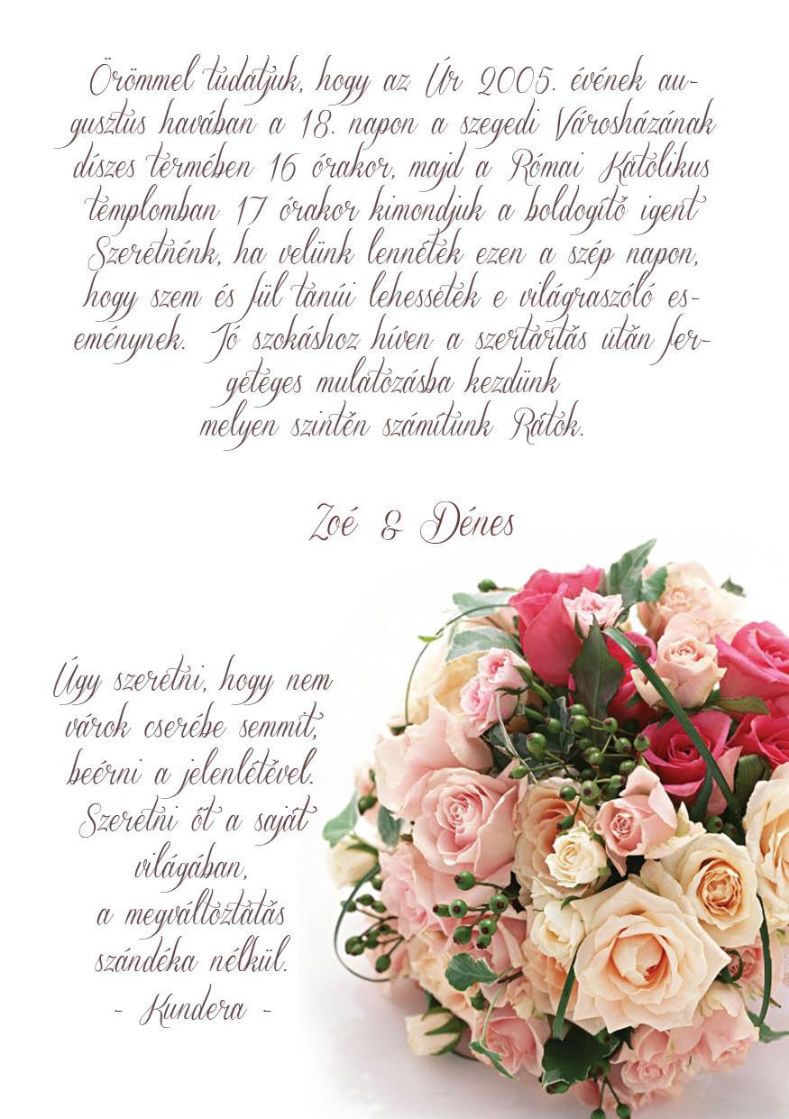 67 minta - tekercses esküvői meghívó