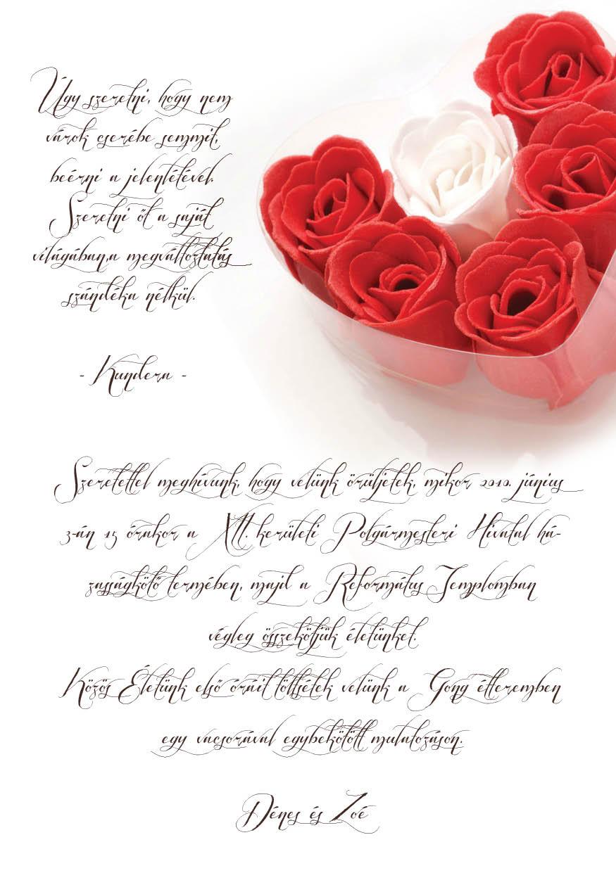 70 minta - tekercses esküvői meghívó