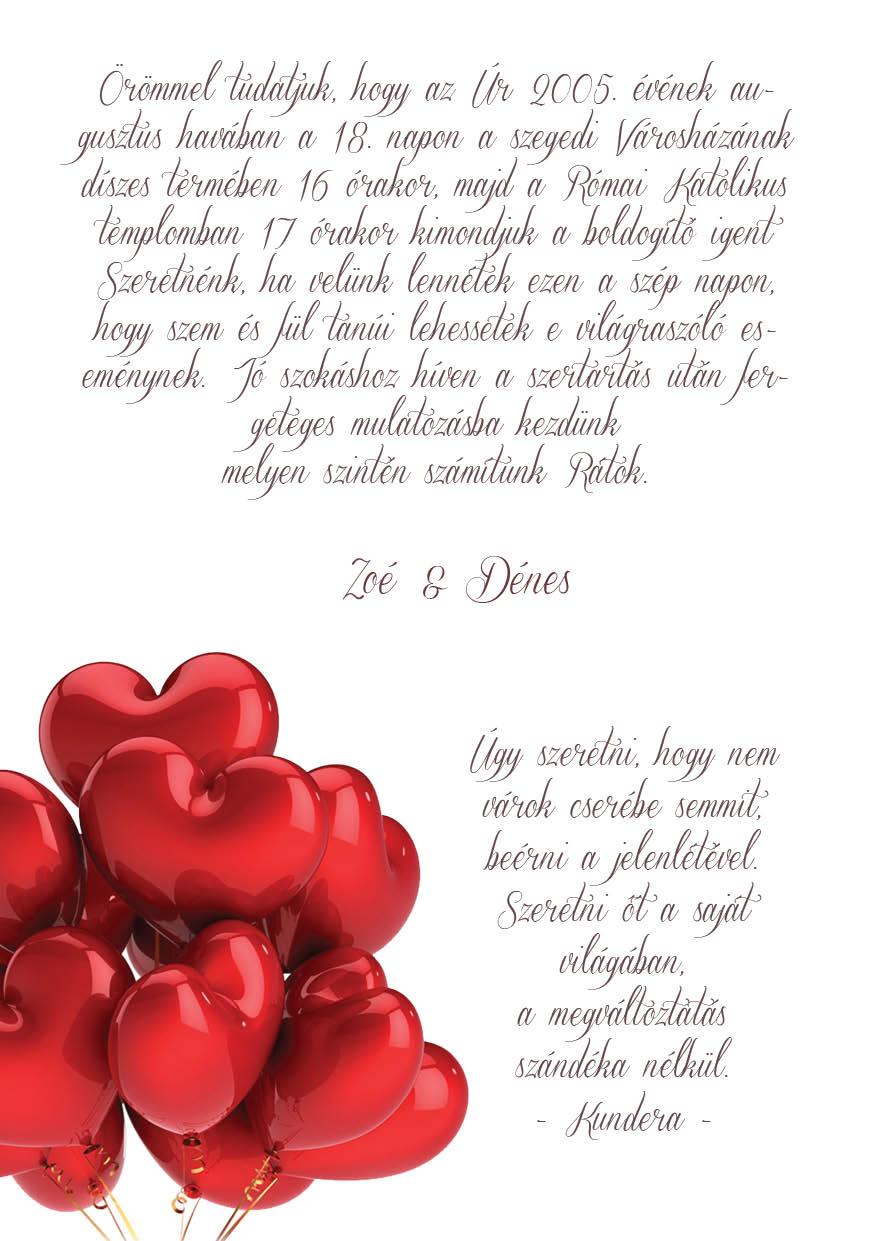 71 minta - tekercses esküvői meghívó