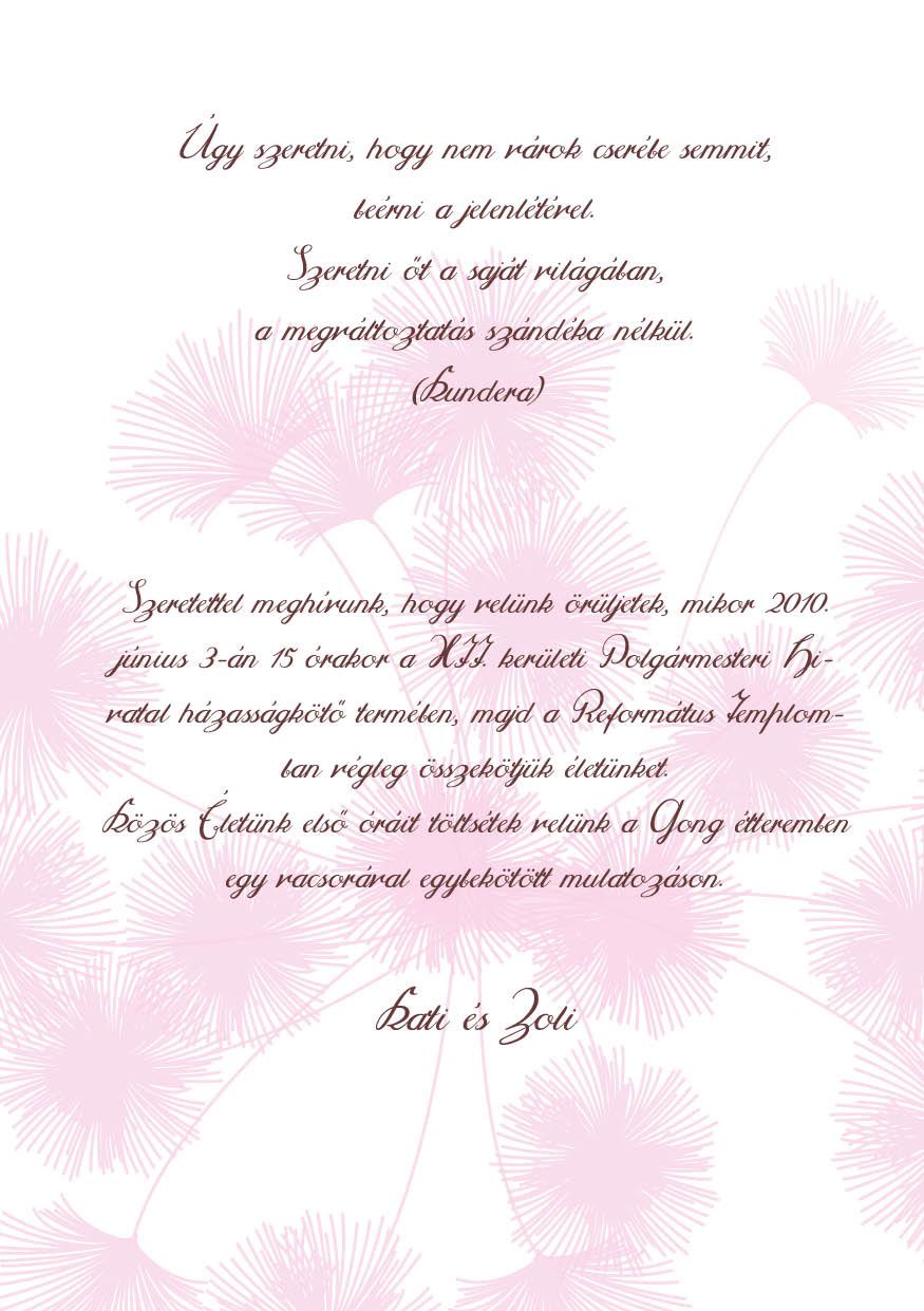 79 minta - tekercses esküvői meghívó