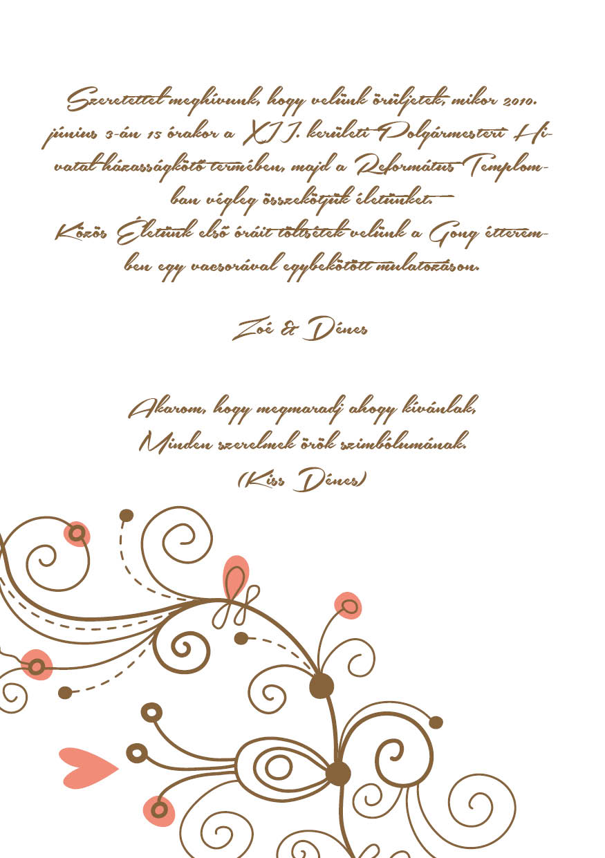 80 minta - tekercses esküvői meghívó