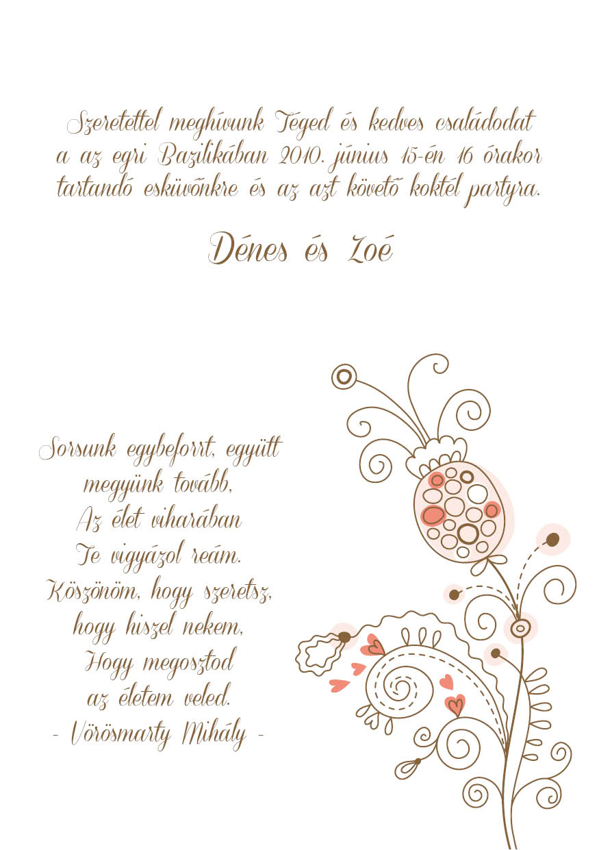 81 minta - tekercses esküvői meghívó