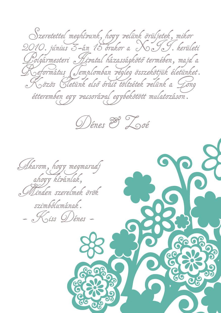 84 minta - tekercses esküvői meghívó