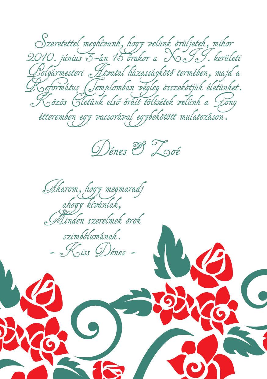 86 minta - tekercses esküvői meghívó