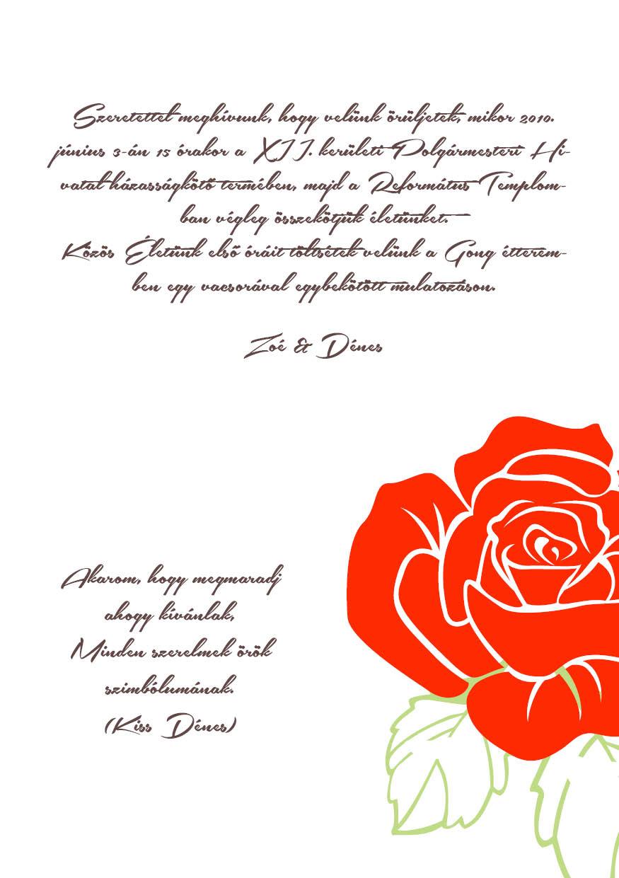 87 minta - tekercses esküvői meghívó