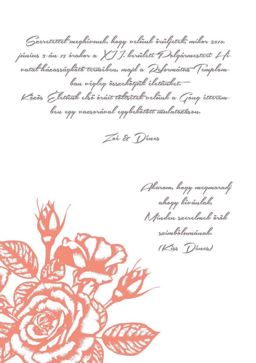 88 minta - tekercses esküvői meghívó