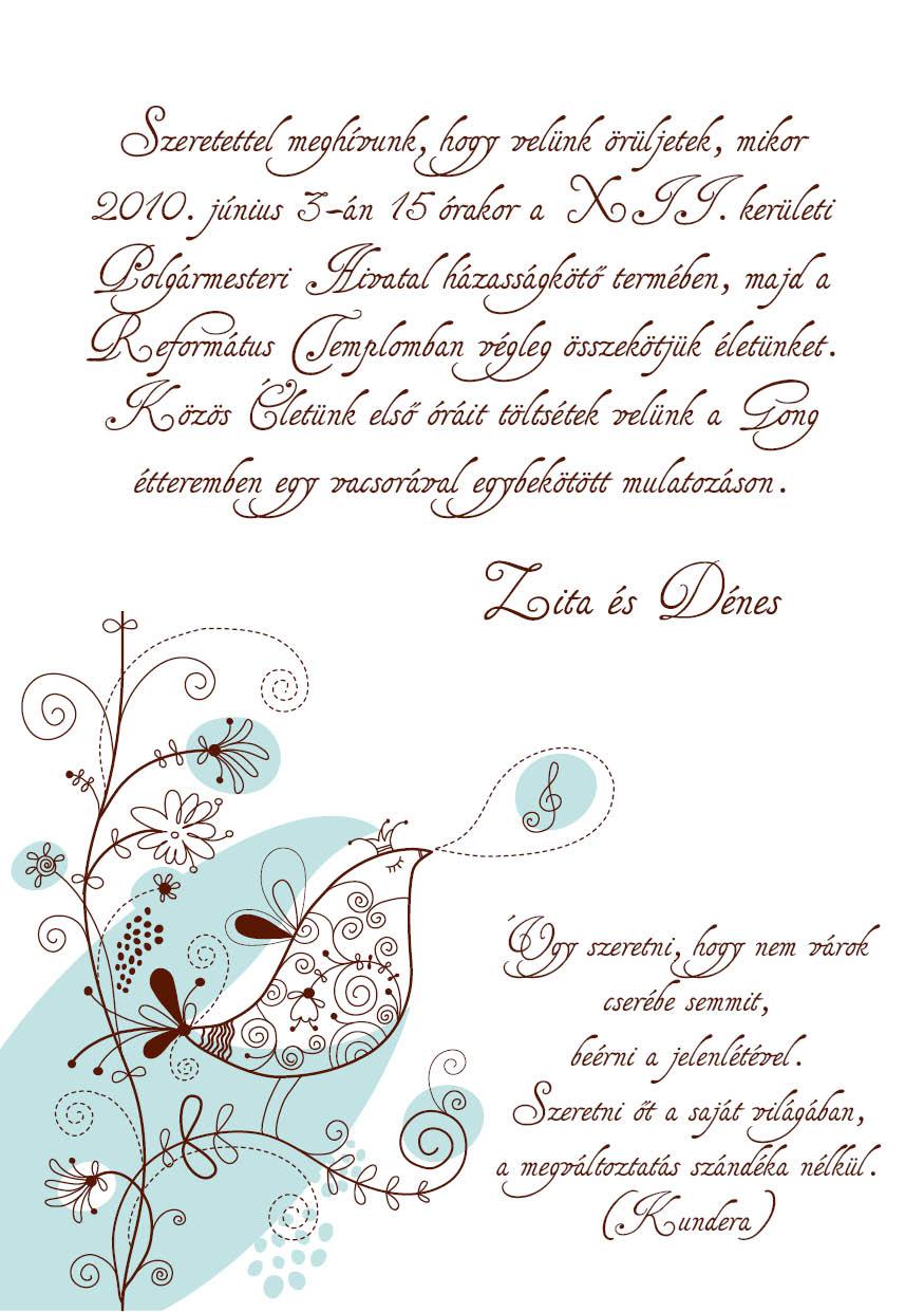 89 minta - tekercses esküvői meghívó