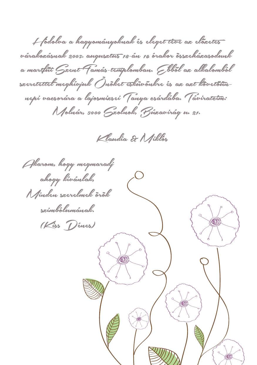 91 minta - tekercses esküvői meghívó