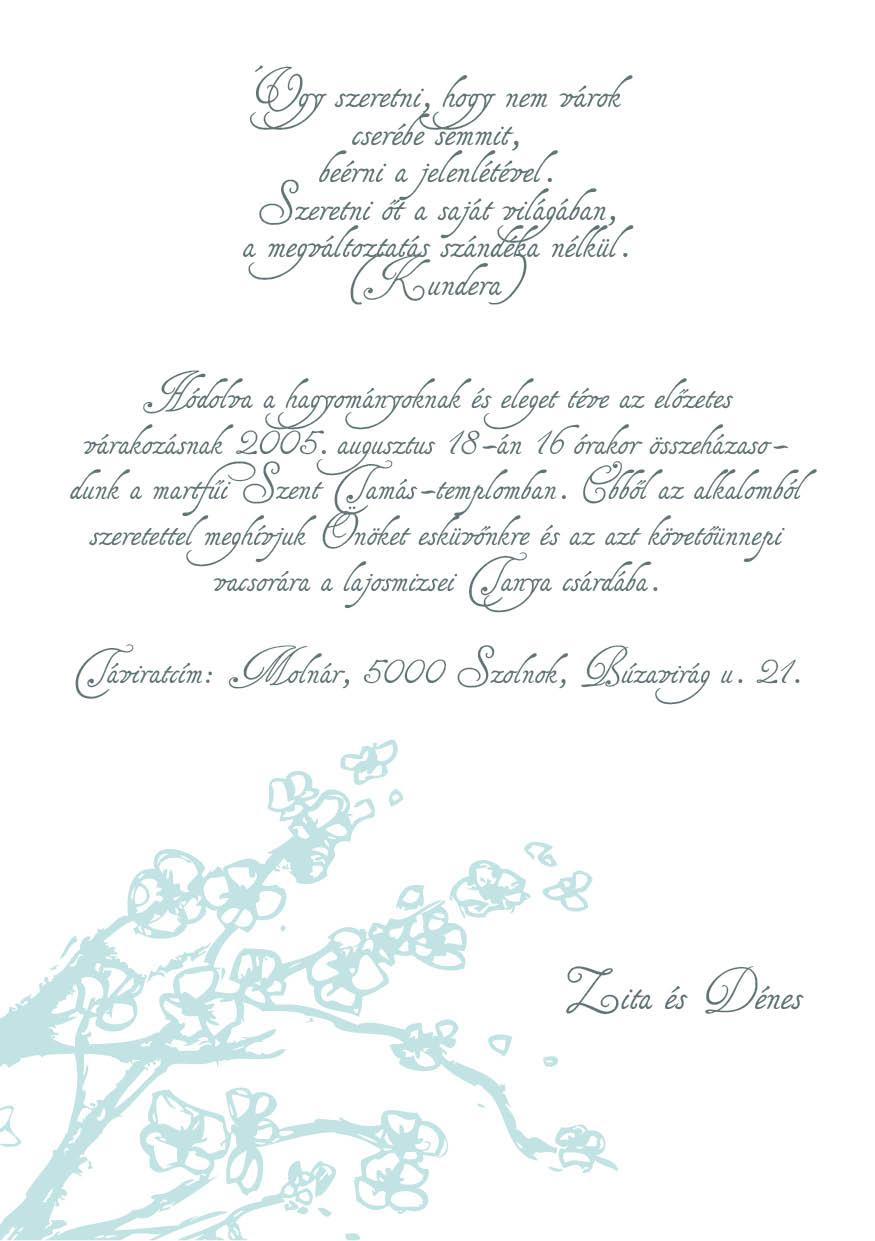 92 minta - tekercses esküvői meghívó