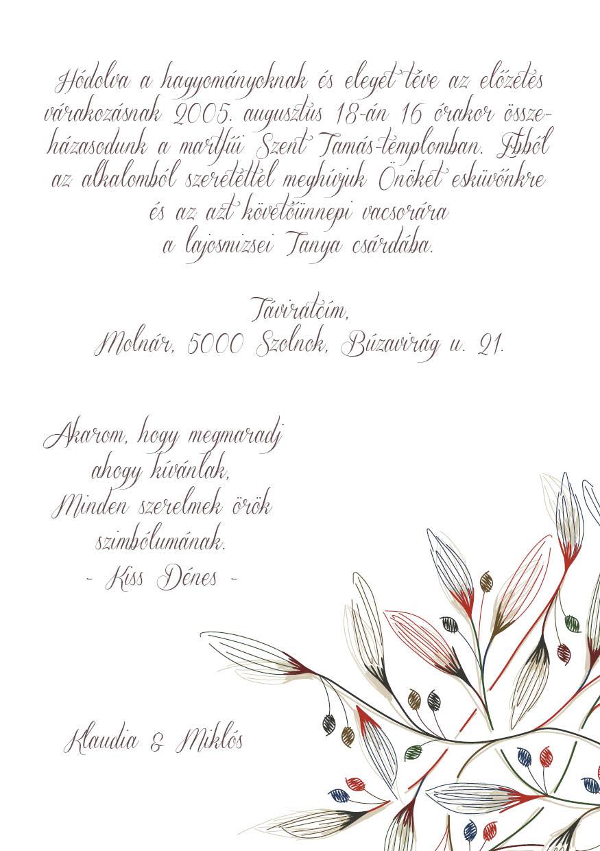 93 minta - tekercses esküvői meghívó