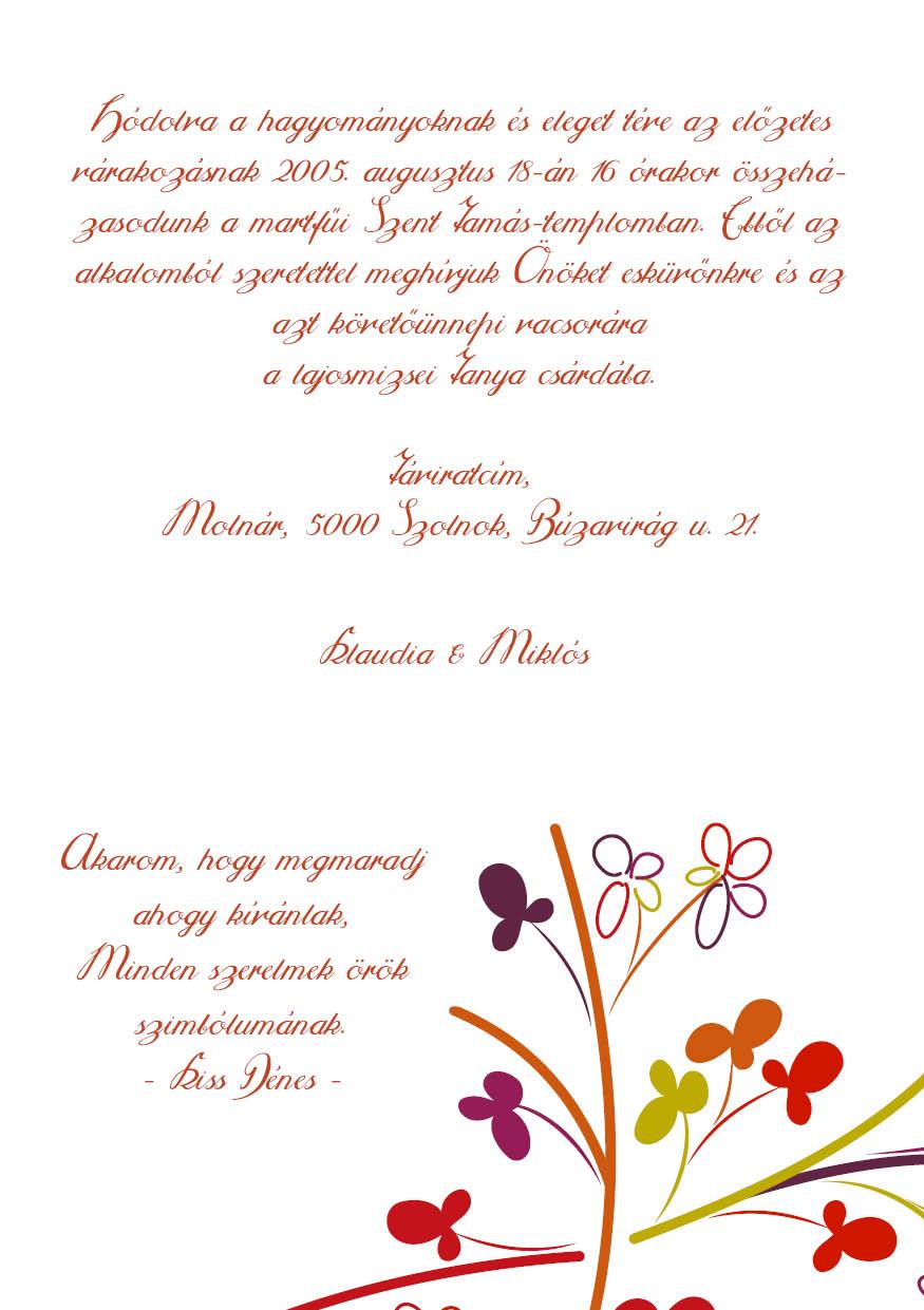 94 minta - tekercses esküvői meghívó