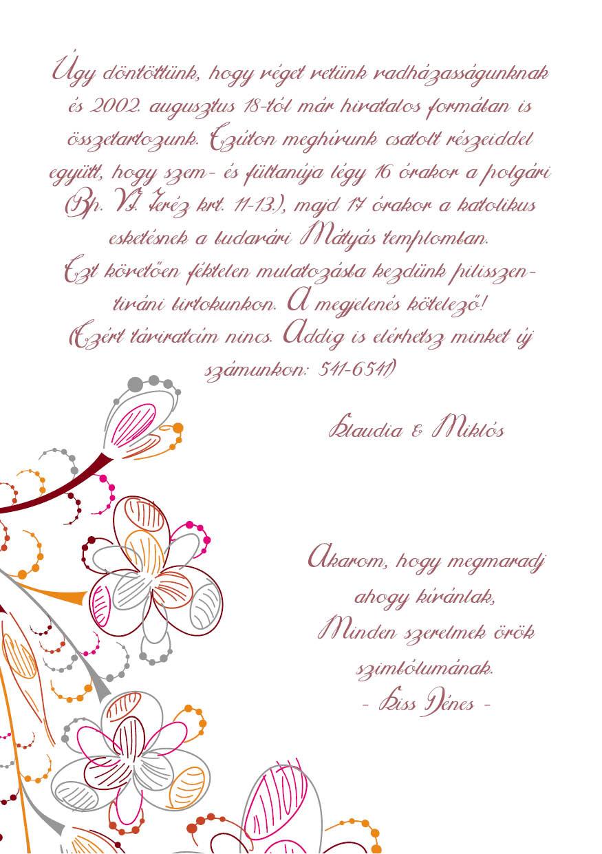 95 minta - tekercses esküvői meghívó