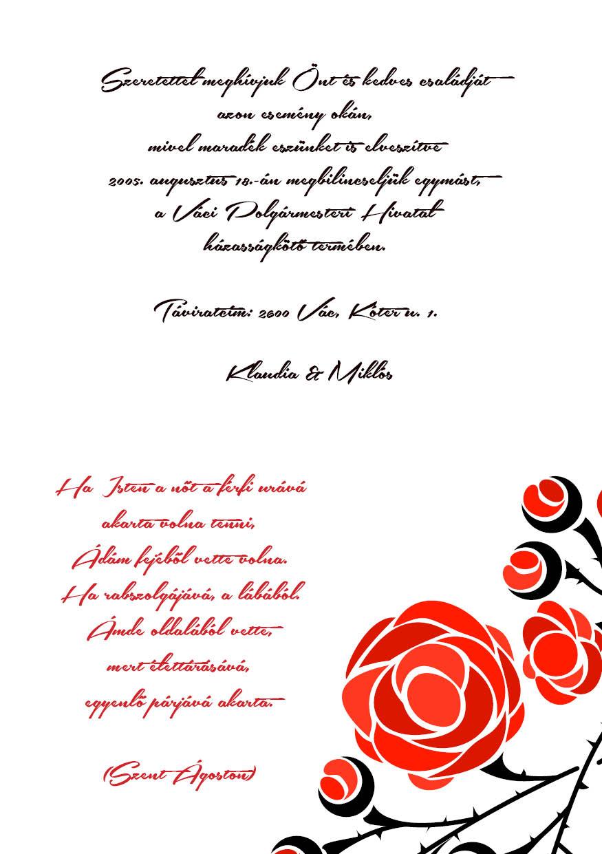 96 minta - tekercses esküvői meghívó