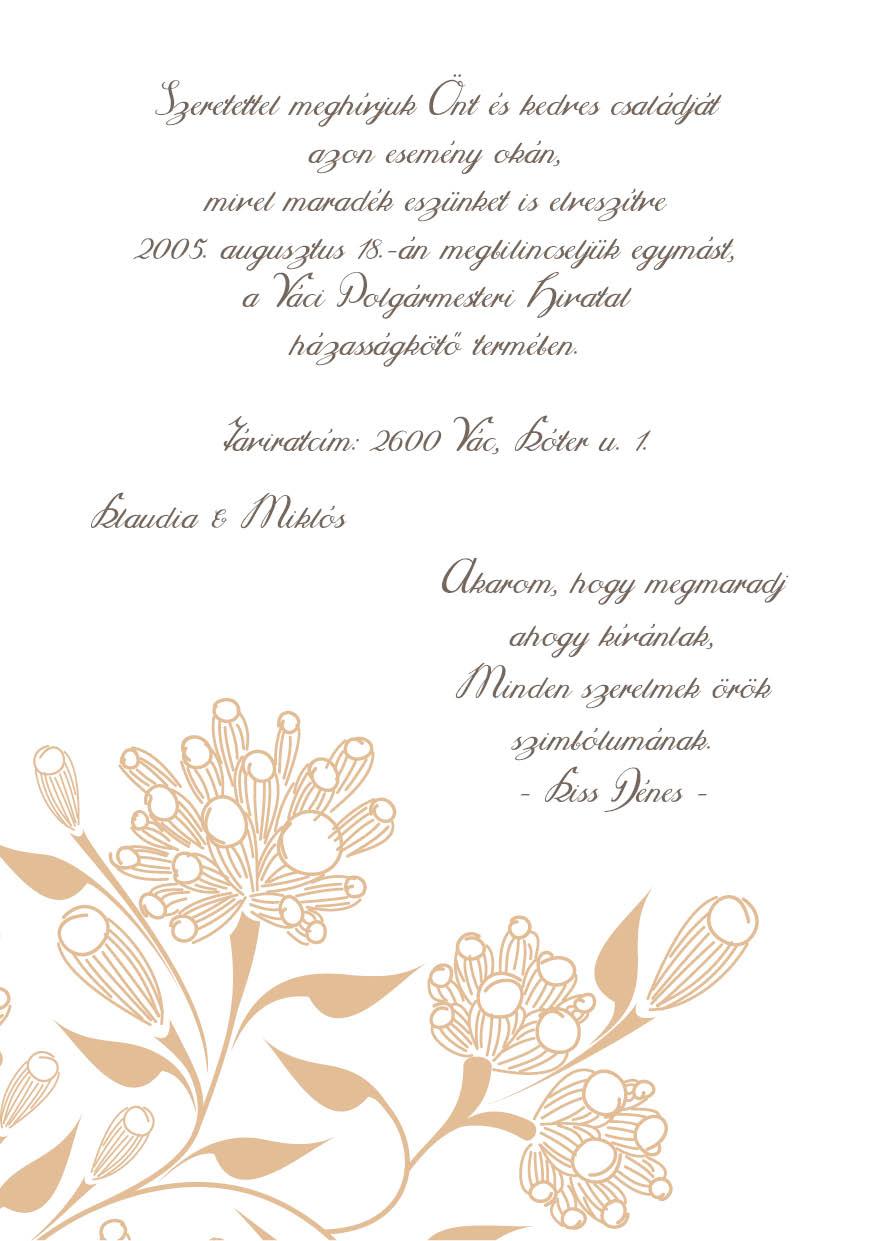 97 minta - tekercses esküvői meghívó