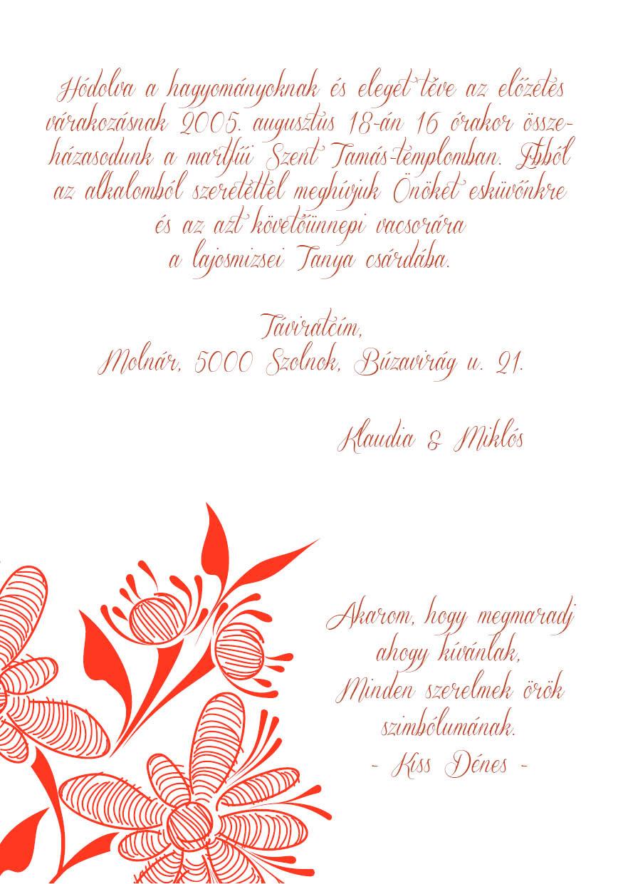 98 minta - tekercses esküvői meghívó