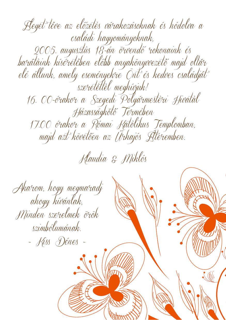 99 minta - tekercses esküvői meghívó