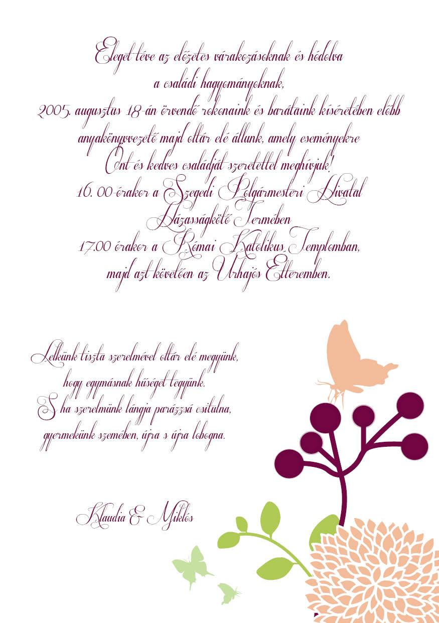 101 minta - tekercses esküvői meghívó