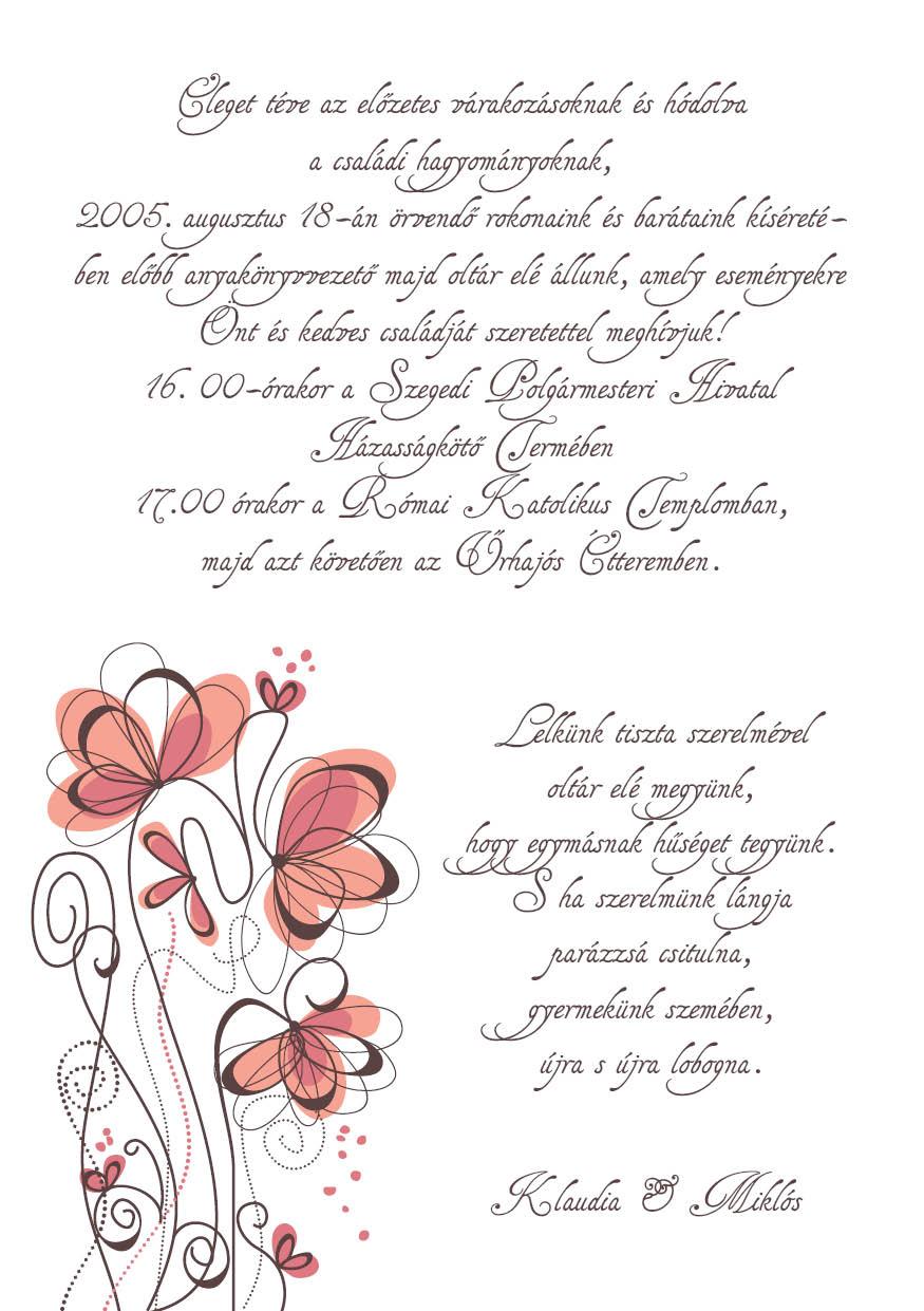 104 minta - tekercses esküvői meghívó