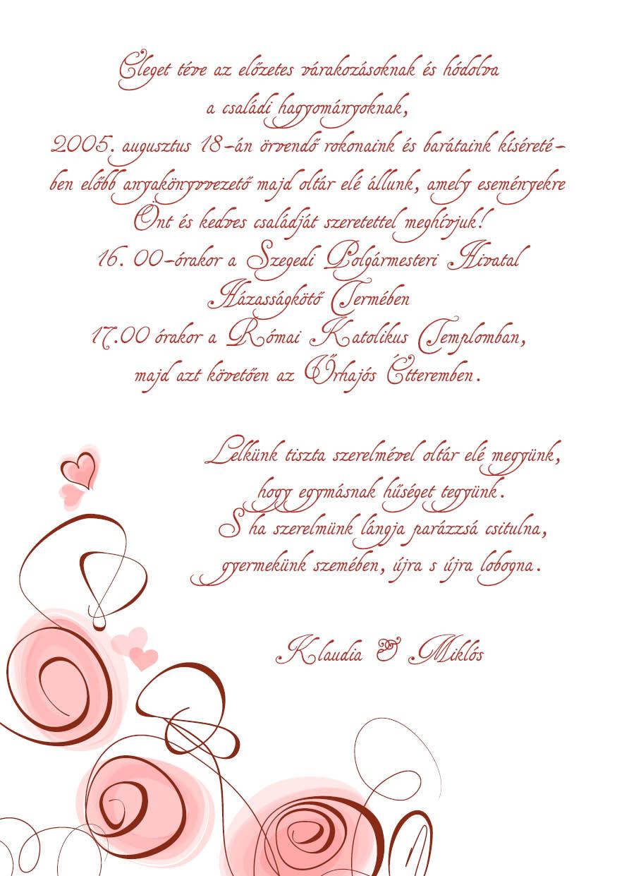 105 minta - tekercses esküvői meghívó