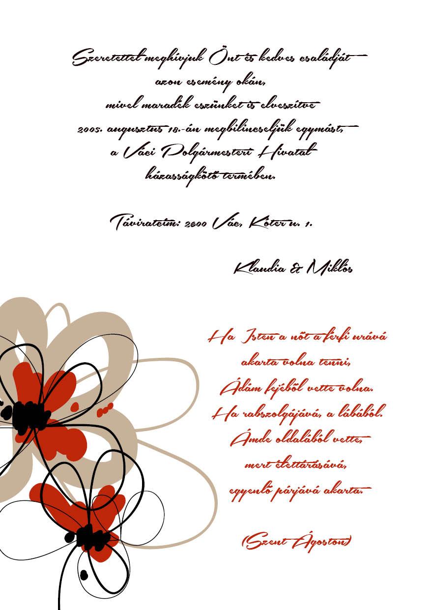 106 minta - tekercses esküvői meghívó