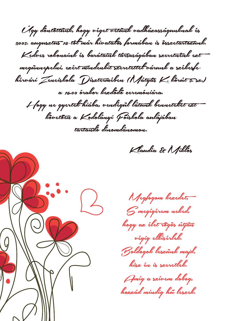 107 minta - tekercses esküvői meghívó