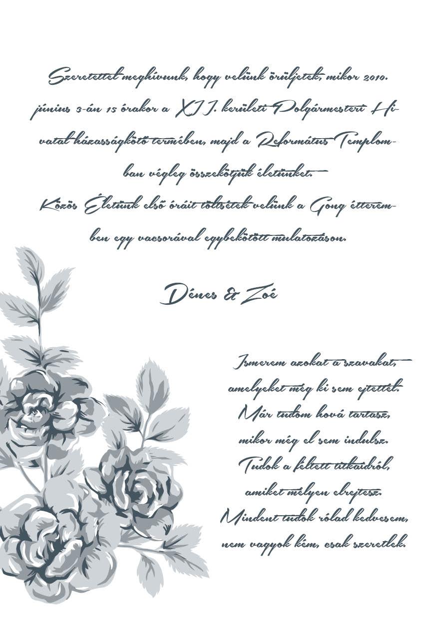 108 minta - tekercses esküvői meghívó