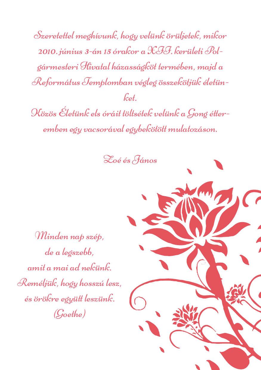109 minta - tekercses esküvői meghívó