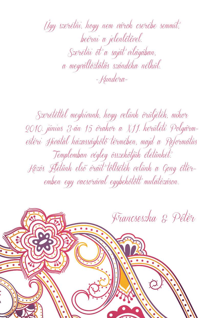 111 minta - tekercses esküvői meghívó