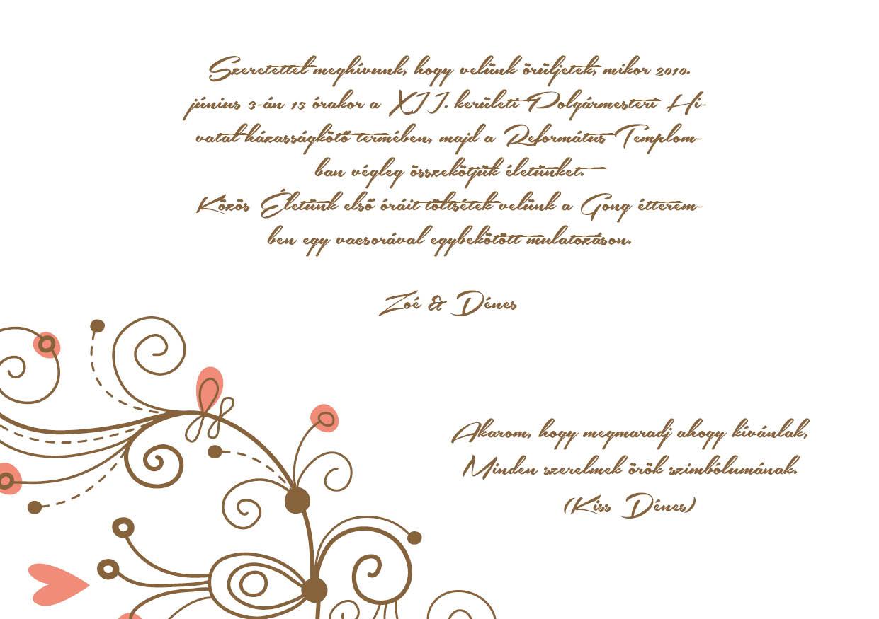 116 minta - tekercses esküvői meghívó