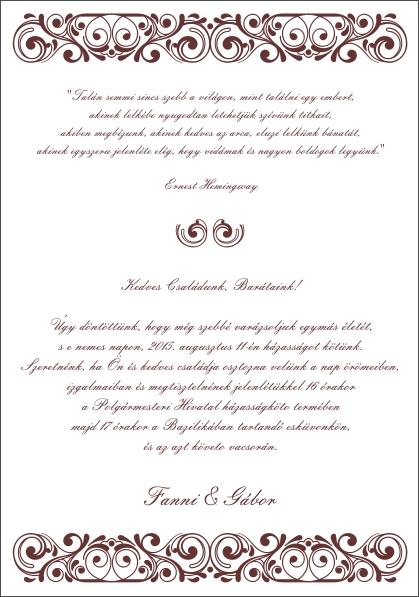 117 minta - tekercses esküvői meghívó