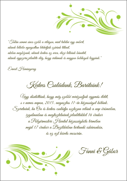 124 minta - tekercses esküvői meghívó