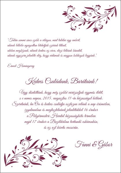 125 minta - tekercses esküvői meghívó
