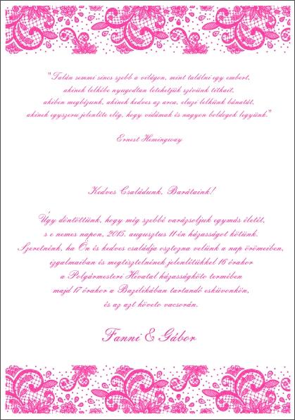 127 minta - tekercses esküvői meghívó
